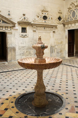 Patio with fountain in the cathedral of Seville