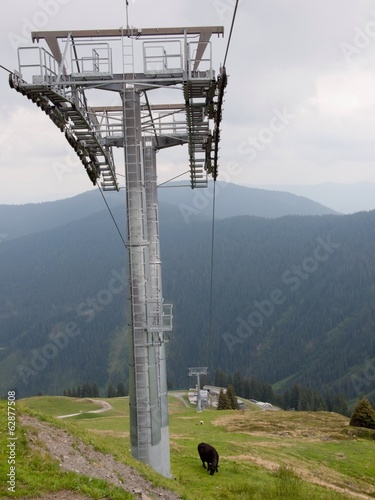 mountain landscape with elevator