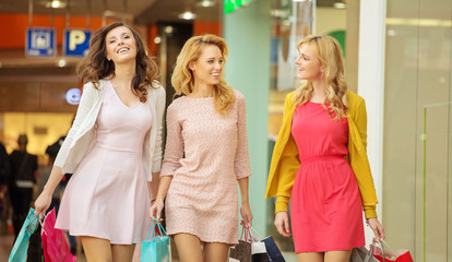 Group of female friends in the shopping mall