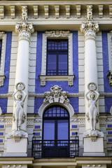 Facade of blue and white Art Nouveau (jugendstil) building, Riga