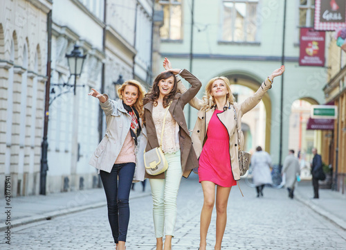 Cheerful young women during the walk