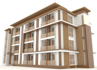 Side of 3D wooden office building exterior design in white backg