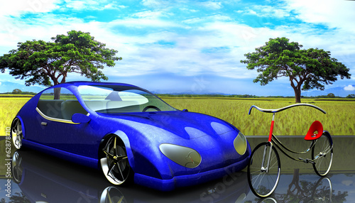 Non-branded generic concept car and bike