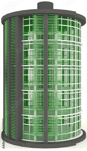 3D energy (battery) building exterior design in white background