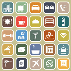Hotel flat icons on yellow background