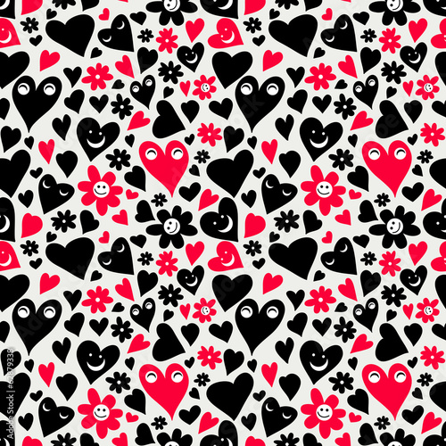 Valentine romantic seamless pattern with funny hearts