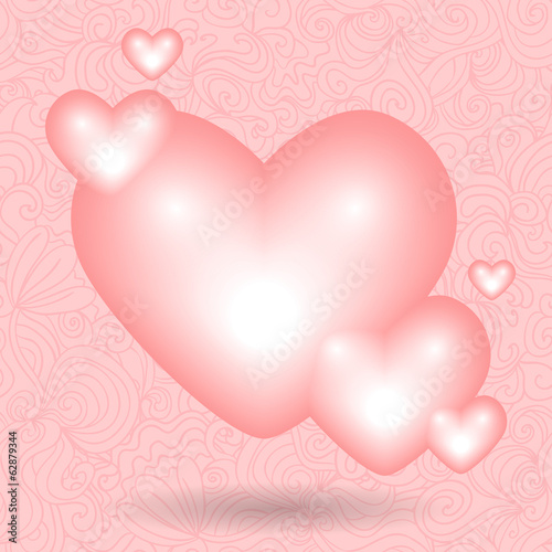 Romantic valentine illustration with hearts