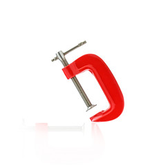 Red clamp isolated on white background