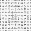 seamless doodle transport pattern