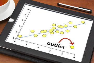 outlier concept on a digital tablet