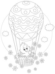 Easter Chick flying in a balloon with flowers