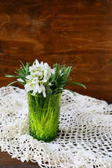 Vintage bouquet of snowdrops