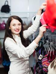 Ordinary girl choosing bra