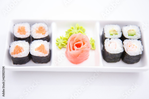 A plate with different sushi