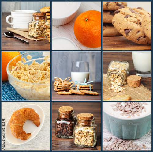 A collage of breakfast photos -- some oatmeal some, cream, a cro