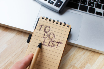 Making or completing,  a to-do list