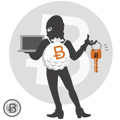 ビットコイン ハッキング Digital currency concept - bitcoin hacker