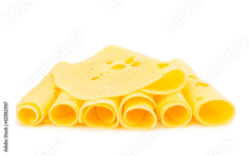 thin slice of cheese isolated
