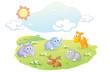 young animals cartoon at the garden
