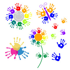 Set elements for design of handprints