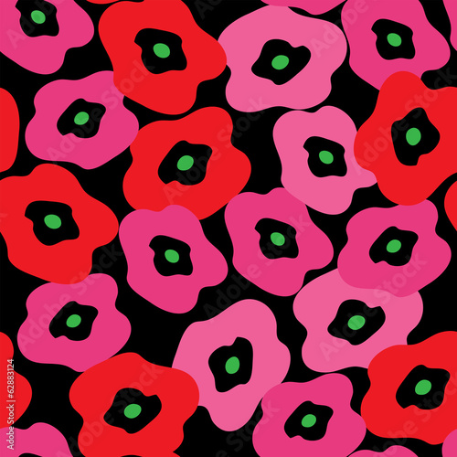 Stylish pattern with red poppies