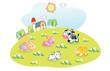 cartoon animals in the home garden