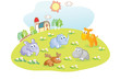 young animals cartoon in the home garden