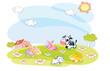 farm animals in the summer
