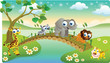 cartoon animals playing with beautiful scenery