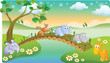 cartoon young animals playing with beautiful scenery