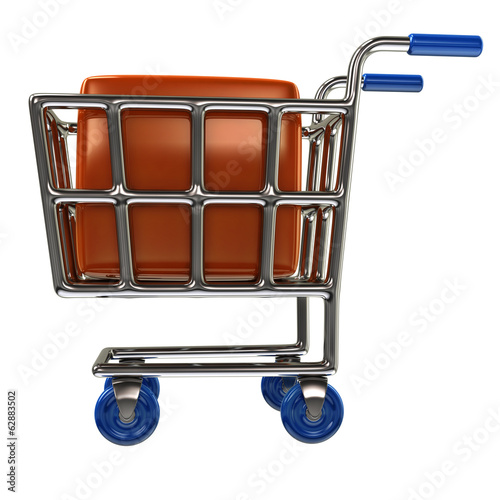 Shopping cart and orange box