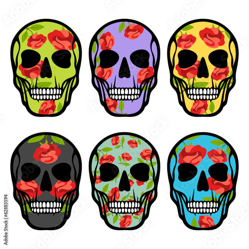 Set of skulls with flowers.