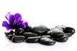 Black massage stones isolated