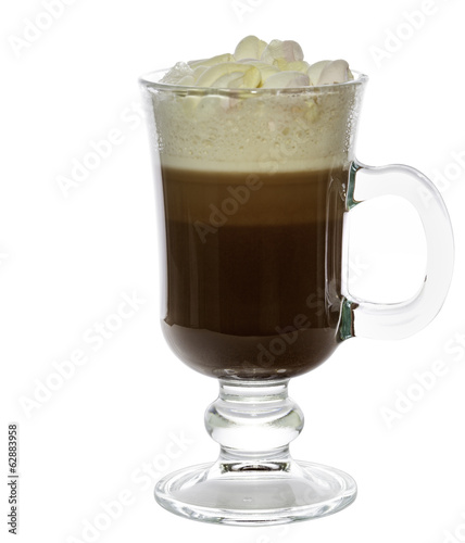 Cocoa with marshmallows isolated over white