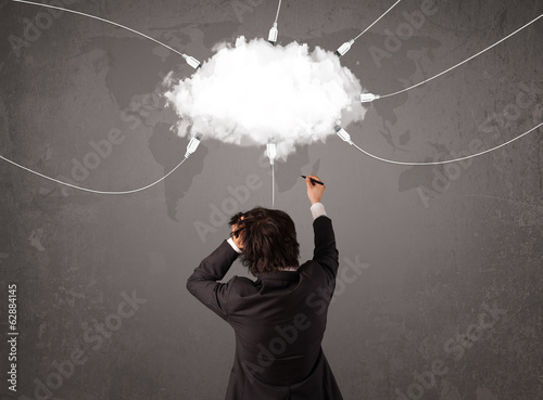 Young man looking at cloud transfer world service