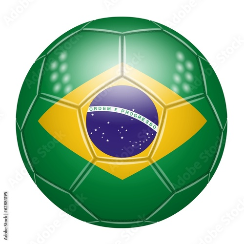 Soccer ball in the colors of Brazil