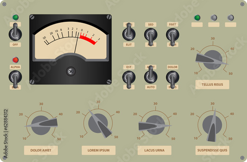 Editable vector illustration of analog control panel