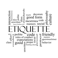 Etiquette Word Cloud Concept in black and white