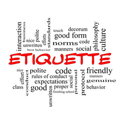Etiquette Word Cloud Concept in red caps