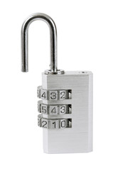 Small opened combination lock with clipping paths for creative