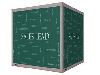 Sales Lead Word Cloud Concept on a 3D cube Blackboard