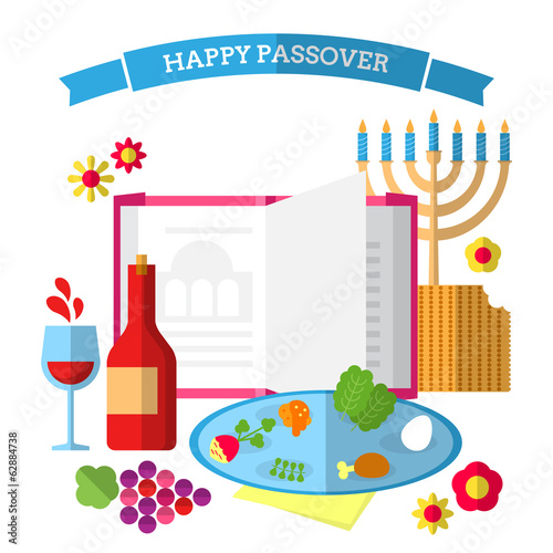 Flat modern design concept for Jewish Passover Holiday