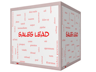 Sales Lead Word Cloud Concept on a 3D cube Whiteboard