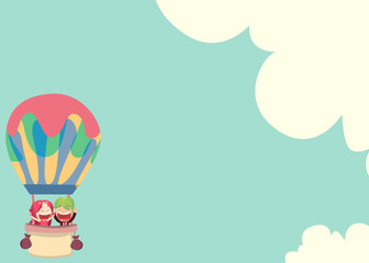 Wedding Card - Irish and Akito In Air Balloon 2