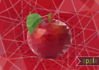 Polygonal red apple with background