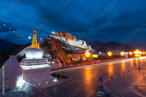 Potala Palace after sunset, Tibet