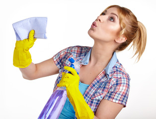 young woman cleaning on white