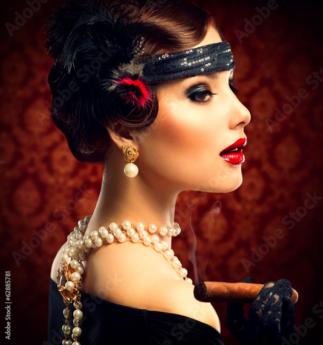 Fototapeta Retro Woman Portrait. Vintage Styled Girl With Cigar
