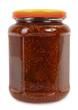 Jar of homemade fig jam or marmalade