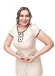 Beautiful plus size woman measuring waist